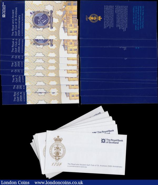 "Scotland The Royal Bank of Scotland plc 5 Pounds (10) 250th Anniversary of St. Andrews's Royal & Ancient Golf Club Commemorative issues Pick 363 (BY SC845; PMS  RB99) dated 14th May 2004 signature Goodwin with special prefix and a fairly earlier consecutively numbered set serial numbers R&A 0008531 - R&A 0008540, all about UNC - UNC. The obverse of each note bears the Golden seal of the St. Andrews Gold Club to left and the reverses with illustration of a view of the original club house of St. Andrews and a portrait of ""Old Tom Morris"". All come with the original presentation wallets and envelopes  : World Banknotes : Auction 170 : Lot 251"