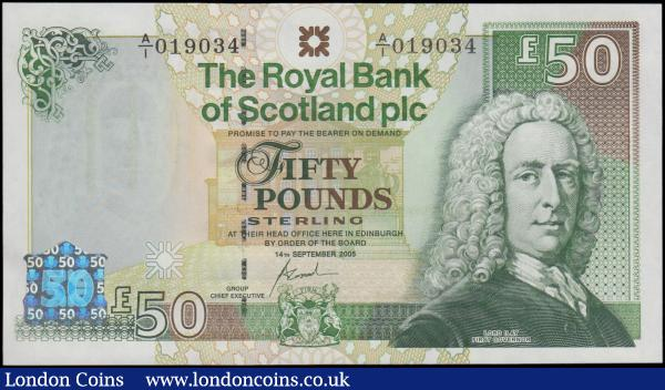 Scotland The Royal Bank of Scotland plc 50 Pounds Pick 367 (BY SC871; PMS RB107) dated 14th September 2005 signature Fred Goodwin a very FIRST prefix and fairly low serial number A/1 019034, fresh and crisp UNC. Mainly in green featuring a portrait of Lord Ilay (Frist Governor) at right and the Bank's Head office building in the underprint and as silver foil security device. The reverse with an illustration of Inverness Castle and a Scottish thistle to lower left which according to the legend clearly connotes bravery, courage, and loyalty in the face of treachery. : World Banknotes : Auction 170 : Lot 252