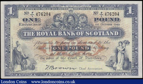 Scotland The Royal Bank of Scotland Reduced size Lizars design 1 Pound Pick 322b (BY SC802d; PMS RB55d) dated 1st October 1949 signature Thomas Brown serial number P/1 476204, about UNC - UNC and pleasing in this high grade. Blue on pale yellow and red/brown sunburst underprint featuring Portrait of George I flanked by the Lion of England and Scotland's Unicorn, along with female allegorical figures at lower left and right. The reverse with a blue panel value and Bank's name at centre flanked by illustrations of the Head office buildings with Edinburgh at left and Glasgow at right, the later without the W. Egan's hidden name. : World Banknotes : Auction 170 : Lot 253