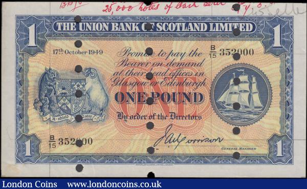"Scotland The Union Bank of Scotland Limited 1 Pound SPECIMEN PROOF similar to Pick S816a (BY SC904a, PMS UB68a) signature Morrison dated 17th October 1949 serial number B/15 352000 with guide lines on obverse and stamped in violet ""The Union Bank of Scotland Limited / 25th June 1950"", 3 sets of punchole cancellations formed in vertical lines, about UNC - UNC, Printers Annotations and with the usual minor display marks and removal signs, foreign paper : World Banknotes : Auction 170 : Lot 255"
