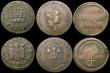 London Coins : A170 : Lot 299 : Farthing Tokens (5) 17th Century Dorset - Dorchester 1669 Town Arms H.D. W53-56 Near Fine. 18th Cent...