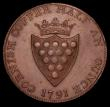 London Coins : A170 : Lot 313 : Halfpenny 18th Century Cornwall - County 1791 Obverse: Druid's head left, Reverse Shield of Arm...