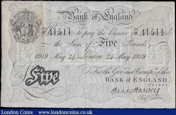 Five Pounds Harvey White note B209a an early dated 24th May 41511 with the 2 digit over letter fractional prefix serial number 50/H 41511 LONDON branch issue in presentable VF and Exceptionally Scarce note now a century old. Sir Ernest Musgrave Harvey was the 17th Chief Cashier which he became on the 6th May 1918 just as the end of World War I was approaching. The inflation caused during the war meant that demand for banknotes increased during Mr Harvey's time in office. Sir Harvey was knighted in 1920 and created a Baronet in 1933, among his other honours which were the CBE, Chavlier of the Legion of Honour and Chavlier of Leopold of Belgium. : English Banknotes : Auction 170 : Lot 36