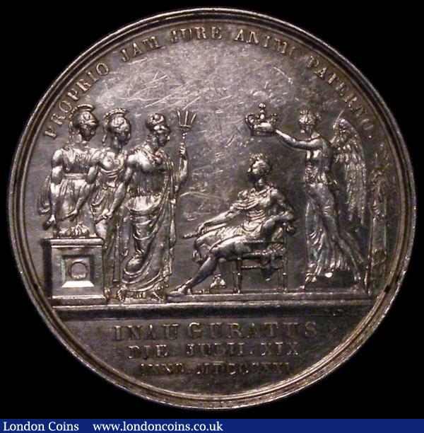 Coronation of King George IV 1821 35mm diameter in silver, by J.Croker, Eimer 1146 The official Royal Mint issue Obverse Bust Left Laureate, Reverse George IV enthroned, left, crowned by Victory, behind, before him stand Britannia, Hibernia and Scotia PROPRIO JAM JURE ANIMO PATERNO in exergue INAUGURATUS DIE. JULII.XIX.ANNO.MDCCCXXI 35mm in Silver by Pistrucci NEF with many contact marks : Medals : Auction 170 : Lot 361