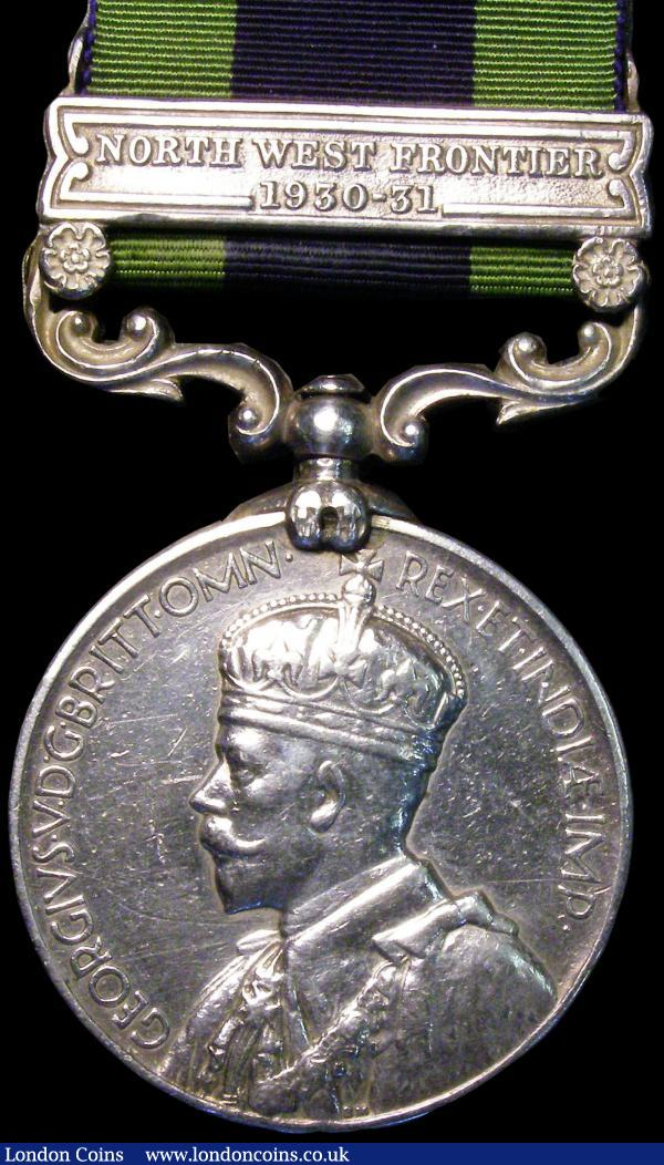 India General Service Medal with North West Frontier 1930-31 clasp, awarded to 8573 SWR.Mohd Dazim, Kurram Mil. Fine with ribbon : Medals : Auction 170 : Lot 396