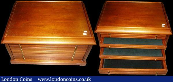 Accessories a mixed group includes a large Wooden medal cabinet with 6 drawers, total size 575mm x 375mm x 290mm, Storage boxes, Westminster-style or similar (13), Lindner carrying boxes (2) , each containing 4 Lindner trays, both lockable with keys, a Leuchtturm Aluminium case containing 4 display trays, lockable with key, Mini Coin Albums (2), Albums (2) a Whitman Album for a GB type set Edward VII to Elizabeth II and a USA Washington Quarter Album, Books (2) Coins of the World by Richard G.Doty, and Check Your Change by Rotographic Ltd and certificates (12) for the Concorde Milestones Coin Collection, all in good second-hand condition (total weight over 25 Kilos) : Misc Items : Auction 170 : Lot 401