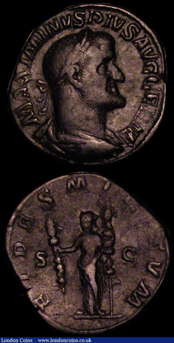 Roman (2) Maximinus I (235-238AD) Rome Mint. Obverse: Bust right draped and cuirassed, MAXIMINIVS PIVS AVG GERM, Reverse: Fides standing holding two standards, FIDES LILITVM SC, RCV 8327, RIC 43 Fine. Sestertius Crispina (178-191AD) Obverse Bust right, CRISPINA AVGVSTA, Reverse: CONCORDIA S C Concord seated left with patera and cornucopia VG with green patina RIC 665 VG with green patination : Ancient Coins : Auction 170 : Lot 430