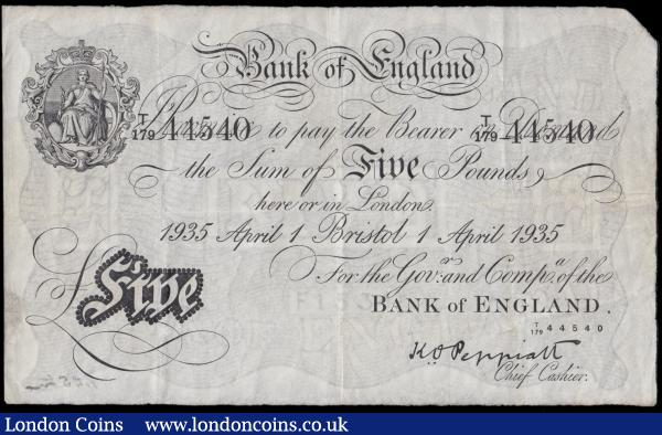 Five Pounds Peppiatt White note B241b BRISTOL branch issue dated 1st April 1935 serial number T/179 44540, a presentable and well-preserved VF with a minor inked signature at lower right reverse and an Exceptionally Rare note . In fact we have only offered 1 example in December 2019 in good Fine again with a small inked annotation that realised £2000. Also historically this is an example of the last ever branch issued notes as at the outbreak of World War II all branches ceased issuing notes. Issuing became centralized in the main office in London and the branches only served as distribution centres.  : English Banknotes : Auction 170 : Lot 45