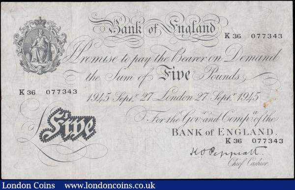 Five Pounds Peppiatt White note B255 Thick paper Metal thread LONDON branch issue dated 27th September 1945 serial number K36 077343, VF lightly pressed with visible signs of wear and handling : English Banknotes : Auction 170 : Lot 58