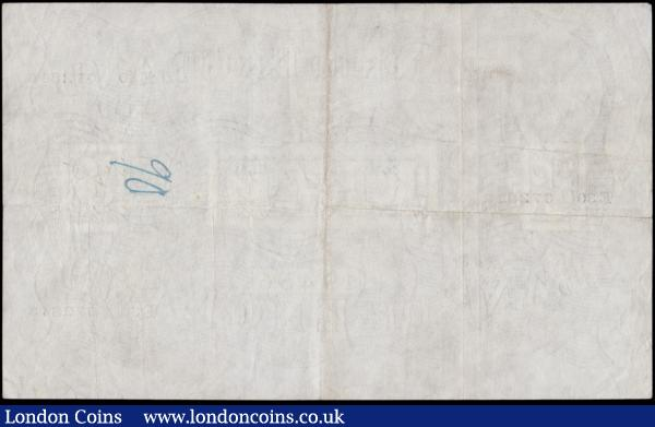 Five Pounds Peppiatt White note B255 Thick paper Metal thread LONDON branch issue dated 6th October 1944 serial number E30 072813, VF faint pencilled numeral at upper right on face and an inked numeral on reverse : English Banknotes : Auction 170 : Lot 59