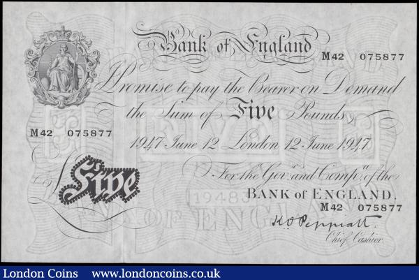 Five Pounds Peppiatt White note B264 Post-war Thin paper Metal thread LONDON branch issue dated 12th June 1947 serial number M42 075877, a pleasing very high grade example in about UNC - UNC still retaining original embossing and showing very minor signs of handling : English Banknotes : Auction 170 : Lot 64