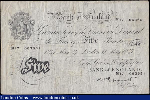 Five Pounds Peppiatt White note B264 Post-war Thin paper Metal thread LONDON branch issue dated 14th May 1947 serial number M17 063651, good Fine - about VF pencilled numerals and a hand stamp on face : English Banknotes : Auction 170 : Lot 67