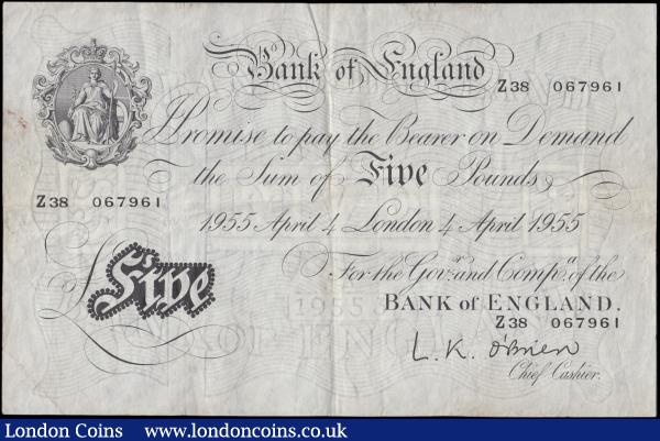 Five Pounds O'Brien White note B275 Thin paper Metal thread LONDON branch issue dated 4th April 1955 serial number Z38 067961, VF or near : English Banknotes : Auction 170 : Lot 84