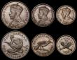 London Coins : A170 : Lot 845 : New Zealand Proof Set 1935 Waitangi 6 coin set Crown down to Silver Threepence, KMPS3 containing KM1...