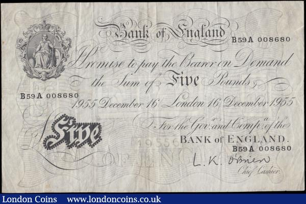 Five Pounds O'Brien White note B276 Thin paper Metal thread LONDON branch issue dated 16th December 1955 serial number B59A 008680, VF previously mounted  with 6 glue residue mounting points on reverse : English Banknotes : Auction 170 : Lot 86