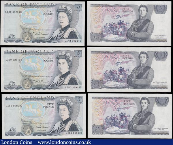 Five Pounds Somerset QE2 pictorial & The Duke of Wellington B343 L (Lithography) Reverse issues 1980 (7) all LAST series prefixes and some could relate them to the popular military term LZ (Landing Zone) in the serial numbers - LZ42 662245, LZ50 329165, LZ58 808333, LZ68 674151, LZ73 537302, LZ77 928846 and LZ83 445751. All in various presentable higher grades in average GVF to EF  : English Banknotes : Auction 170 : Lot 95