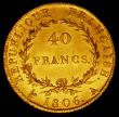 London Coins : A170 : Lot 999 : France 40 Francs Gold 1806 A, Paris Mint KM#675.1 GVF/NEF with some light hairlines, the 40 Franc Go...