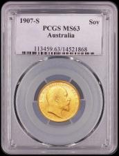 Sovereign 1907S Marsh 209 Choice UNC, in a PCGS holder and graded MS63