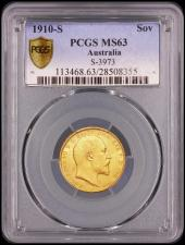 Sovereign 1910 S PCGS MS63