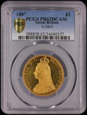 Two Pounds 1887 Proof S.3865 in a PCGS holder and graded PR62 Deep Cameo