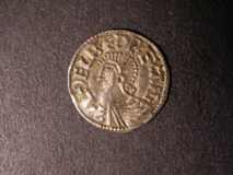 London Coins : A122 : Lot 1256 : Penny Aethelred II S.1151 Long Cross type moneyer LEOFRIC on LVND Good VF