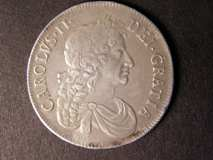London Coins : A122 : Lot 1462 : Crown 1673 VICESIMO QVINTO ESC 47 NVF/VF with uneven dark toning on the reverse