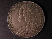 London Coins : A122 : Lot 1478 : Crown 1743 Roses ESC 124 GVF/VF with a light scratch on the King's forehead