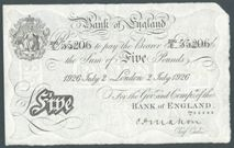 London Coins : A122 : Lot 151 : Five pounds Mahon white B215 dated 2nd July 1926 prefix 290/E, Pick320a, pressed VF