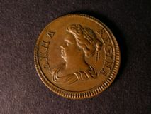 London Coins : A122 : Lot 1518 : Farthing 1714 ANNA REGINA Peck 743 struck on a small 22.5mm flan NEF