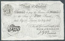 London Coins : A122 : Lot 152 : Five pounds Nairne white B208b dated 23 July 1915 serial 41/D 80167, Pick304, almost VF
