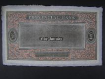 London Coins : A122 : Lot 398 : India Provincial Bank £5 proof uniface note, watermark shows Indian script &