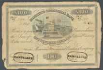 London Coins : A122 : Lot 438 : Mauritius Commercial Bank $100 (£20 sterling) issued 8th April 1839 serial No.790, Pic...