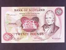 London Coins : A122 : Lot 477 : Scotland Bank of Scotland £20 dated 15th December 1987 prefix K --last series, Pick114e...