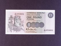 London Coins : A122 : Lot 524 : Scotland Clydesdale Bank Plc £1 dated 25th Nov.1985, prefix D/ZZ replacement, Pick211c...