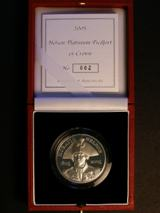 London Coins : A122 : Lot 729 : Five Pound Crown Nelson 2007 Platinum Proof Piedfort 94.2 grammes of .9995 Platinum FDC cased as iss...