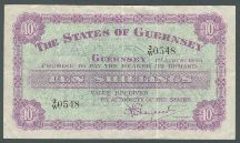 London Coins : A124 : Lot 1531 : Guernsey 10 shillings dated 1st August 1945 serial 2/W 0548, Pick42a, scarce date type, ...