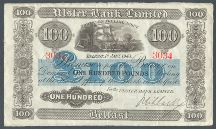 London Coins : A124 : Lot 1598 : Northern Ireland Ulster Bank Ltd £100 dated 1st January 1943 serial 3034 handsigned Niblock...