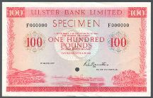 London Coins : A124 : Lot 1599 : Northern Ireland Ulster Bank Ltd £100 SPECIMEN dated 1st March 1977 serial F000000, signed...