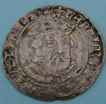London Coins : A124 : Lot 1860 : Groat Henry VIII 3rd coinage, Tower mint, mint mark lis. S.2369. Good fine.