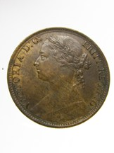London Coins : A124 : Lot 2188 : Penny 1881 Freeman 105 dies 10+J GVF with some contact marks on the obverse, Rare