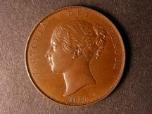 London Coins : A124 : Lot 639 : Penny 1839 Bronzed Proof Peck 1479 About FDC with a few tiny spots