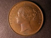 London Coins : A124 : Lot 654 : Penny 1853 Copper Proof Peck 1503 Reverse upright nFDC with some lustre