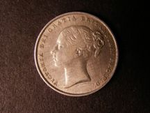 London Coins : A124 : Lot 866 : Shilling 1854 4 over 1 ESC 1302A Fine/Good Fine but cleaned, Very Rare
