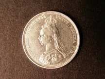 London Coins : A124 : Lot 895 : Shilling 1889 Small Jubilee Head ESC 1354 NEF/EF and very rare in this grade