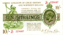 London Coins : A126 : Lot 109 : Treasury 10 shillings Warren Fisher T33 serial U/47 229607, issued 1927 FOR Northern Ireland,...