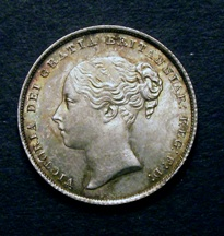 London Coins : A126 : Lot 1417 : Shilling 1858 ESC 1306 Davies 873 Dies 2A Toned UNC
