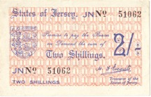 London Coins : A126 : Lot 317 : Jersey 2 shillings issued 1941-42, No.51062, German occupation WW2, Pick4a, normal r...