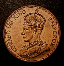 London Coins : A126 : Lot 391 : Cyprus 45 Piastres 1937 Edward VIII Trial in Copper by INA Obverse Crowned and Robed with the 'King ...