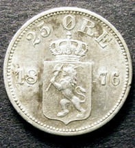 London Coins : A126 : Lot 545 : Norway 25 Ore 1876 KM#354 NEF retaining some lustre