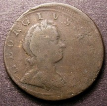 London Coins : A126 : Lot 710 : Halfpenny 1720 Mis-Strike 5-10% off-centre the reverse partly double struck with part of a secon...